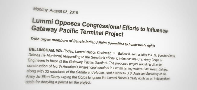 Excerpt from August 3, 2015 Lummi Nation press release posted on Eastside Business Free Press Release Site