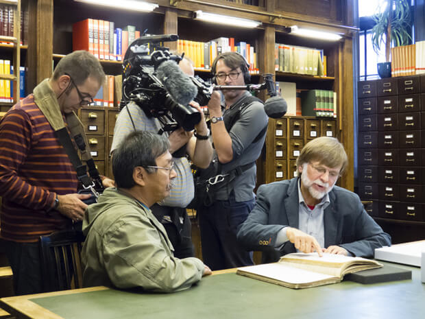 Johannes Lampe and Hartmut Lutz at the Museum of Ethnology, Hamburg.  (Photo by France Rivet)