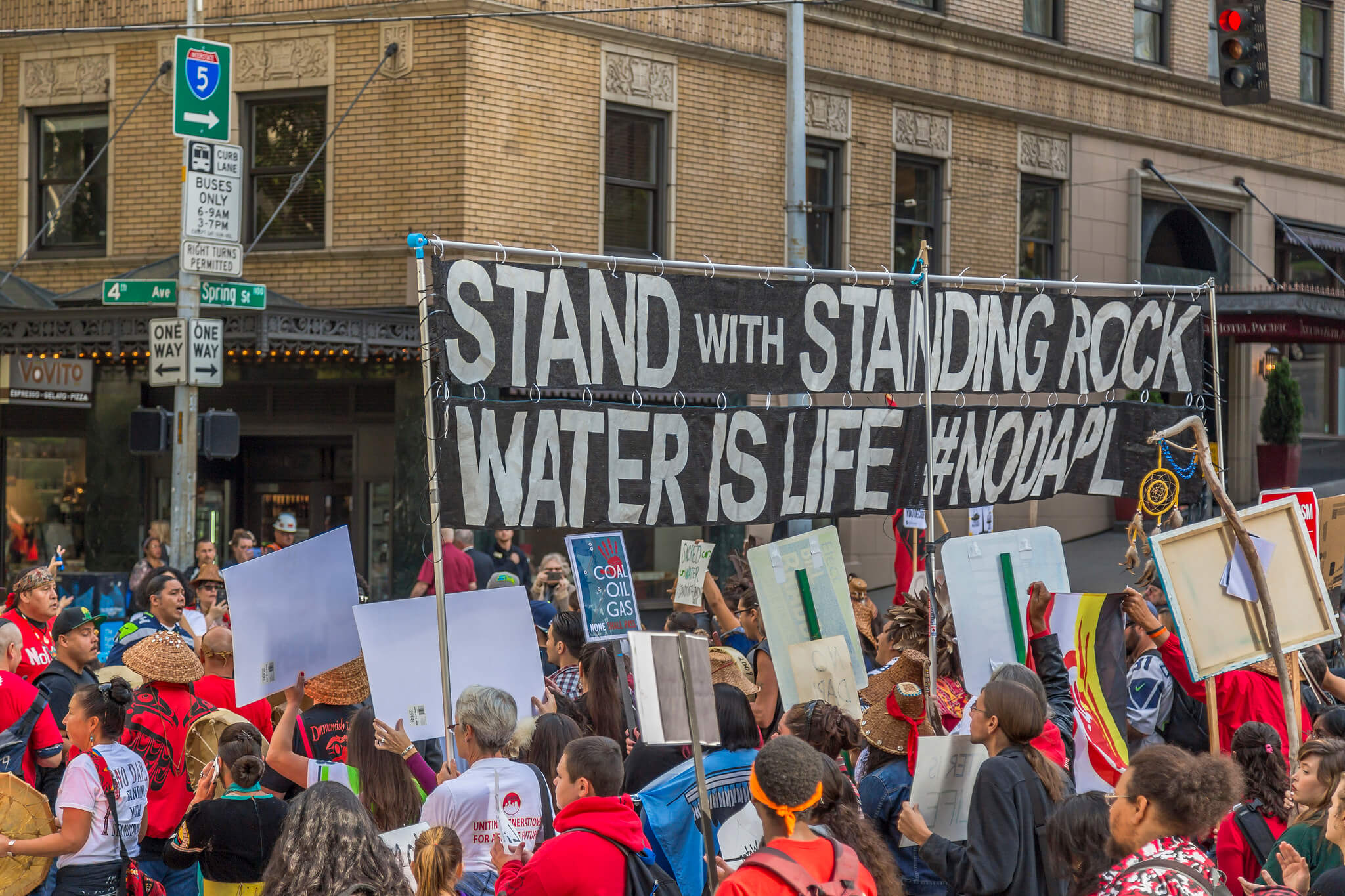 Stands with Standing Rock! Peaceful March & Rally Seattle, WA. Photo: John Duffy/flickr. Some Rights Reserved.