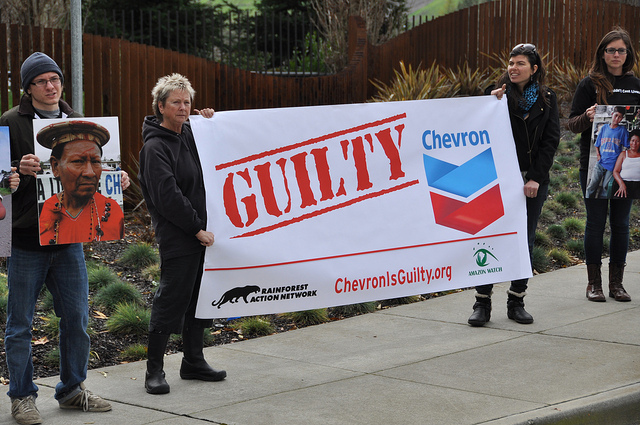 A court in Ecuador has found Chevron guilty of massive environmental pollution and human rights violations in the Amazon, and has ordered the company to pay $8 billion to clean it up. But Chevron has vowed to appeal the decision, and clearly plans to stall indefinitely, hoping never to pay its due. Photo: RAN