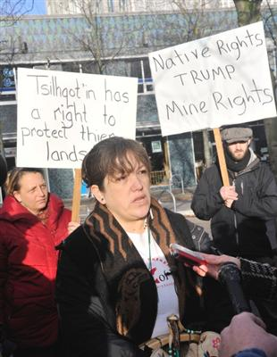 Chief Marilyn Baptiste speaking outside the B.C. Supreme Court on the first day of hearings into the renewed Prosperity Mine proposal. Photo Credit, Vancouver Sun