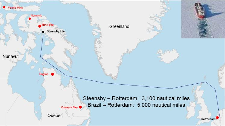 Proposed Shipping Route, from a February 2008 Baffinland Iron Mines Corporation presentation: Mary River – A World Class Direct-Shipping Iron Ore Project.