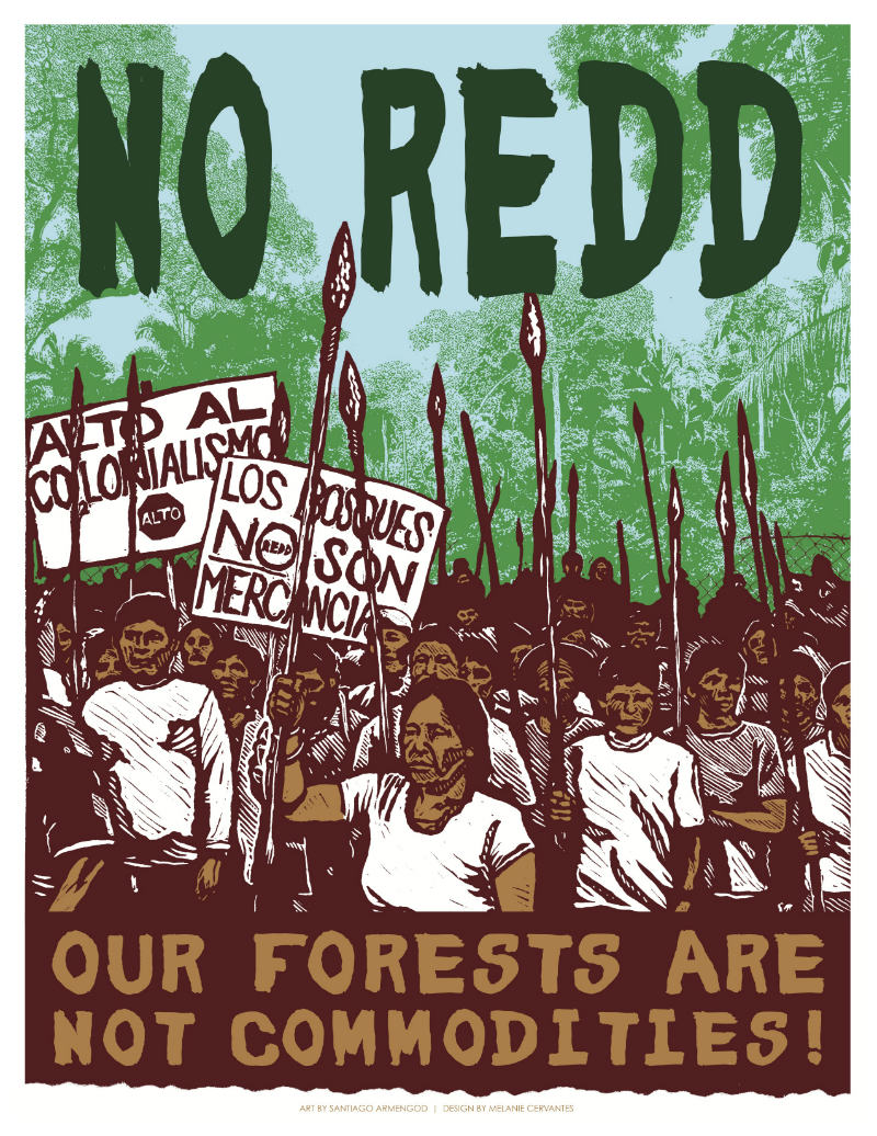"Cover of the ""No Redd"" papers by Carbon Trade Watch, Global Justice Ecology Project, Indigenous Environmental Network, Justseeds Artists' Cooperative, and Timberwatch Coalition."