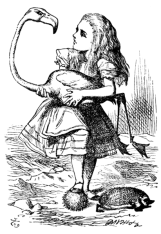 Alice trying to play croquet with a Flamingo. Illustration by John Tenniel
