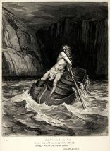 Gustave Doré's engravings illustrated the Divine Comedy (1861–1868); here Charon comes to ferry souls across the river Acheron to Hell.
