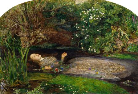 Ophelia depicts lady Ophelia's mysterious death by drowning. In the play, it is discussed by the gravediggers whether Ophelia's death was a suicide and whether or not she merits a Christian burial. (Artist: John Everett Millais 1852