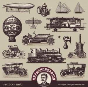 Старинные автомобили, машины, корабли, воздушные шары в ...