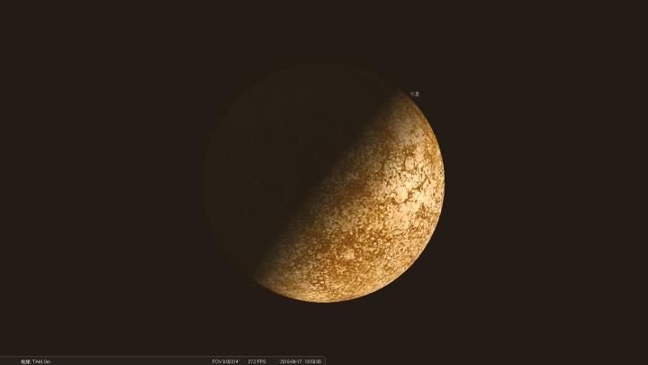 2016年8月17日傍晚18:50所见的水星样貌,是个亮面相位恰好为50.0%的弦月形。