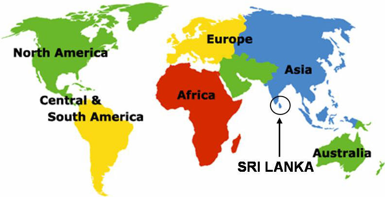 Sri Lanka on the World Map   INTERESTING SRI LANKA