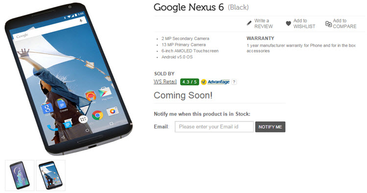 Buy Nexus 6 on Flipkart