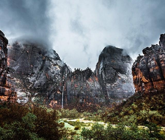 High Resolution Desktop Wallpaper Zion Waterfall After The Storm By Ben Gustafson