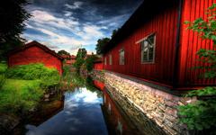 High-resolution desktop wallpaper Red Village by victor.svensson