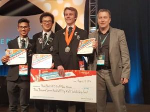 Avondale College represents NZ at MOS World Champs - Azizul Islam, Di Kun Ong, silver medalist Aidan Sharpe and teacher Paul McClean