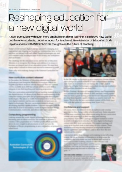 INTERFACE - Issues 85-86 - Reshaping education for a new digital world - Chris Hipkins