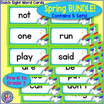 BUNDLE PACK {Pre-K – Gr 3} SPRING Dolch Sight Word Cards/Pocket Chart Game