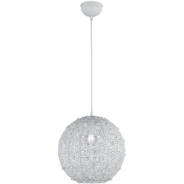 LED Hanglamp - Trion Bajin - E27 Fitting - Rond - Mat Wit - Aluminium