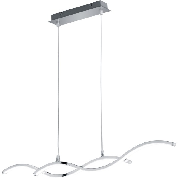 LED Hanglamp - Trion Cidoni - 25W - Warm Wit 3000K - Rechthoek - Mat Chroom - Aluminium