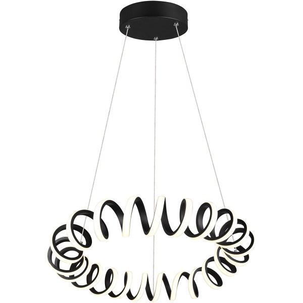 LED Hanglamp - Trion Coral - 33W - Warm Wit 3000K - Dimbaar - Rond - Mat Zwart - Aluminium
