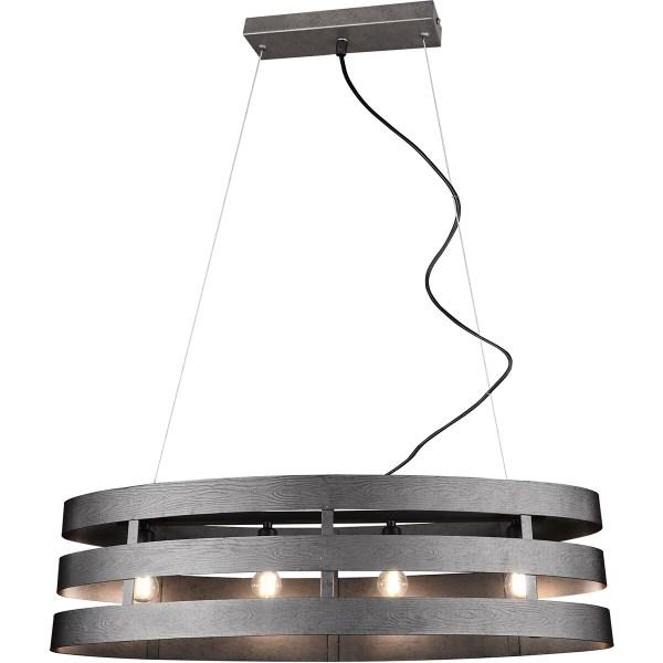 LED Hanglamp - Trion Doncan - E27 Fitting - 4-lichts - Rechthoek - Mat Nikkel - Aluminium