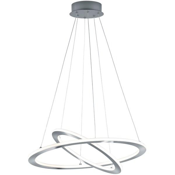 LED Hanglamp - Trion Duban - 40W - Warm Wit 3000K - Dimbaar - Rond - Mat Nikkel - Aluminium