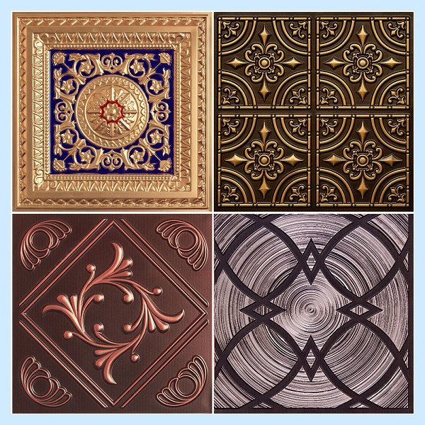 full tin look pvc ceiling tile samples
