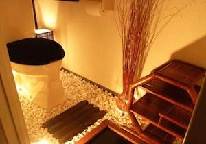 間接照明を利用した和トイレのコーディネート