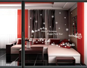 クリスマスカラーの赤をアクセントにしたお部屋のインテリア
