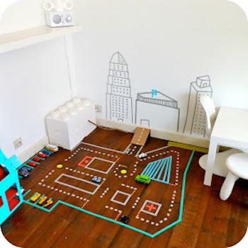 マスキングテープで男の子が楽しめるおしゃれな子供部屋の画像