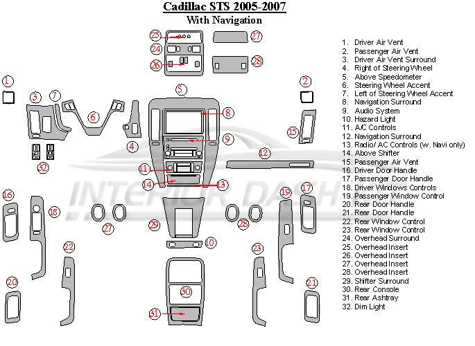2007 Cadillac Sts Dash Navigation System
