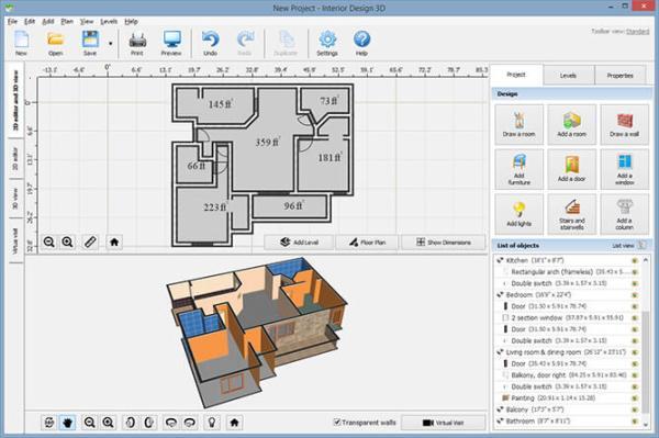 Interior Design Software Interface Screenshots