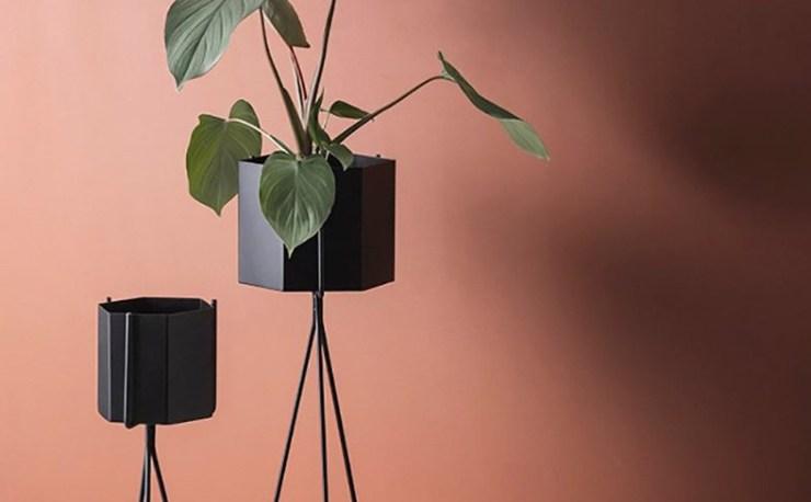 Ferm Living - Low Plant Stand Design - with Hexagon Brass Planter - interior 3000 design blog