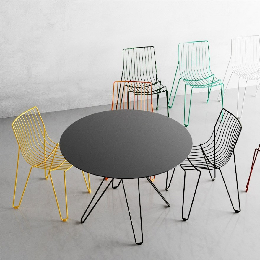 Elegant and Stackable Steel Wire Tio Chair Design by Chris Martin and Magnus Elebäck for Massproductions
