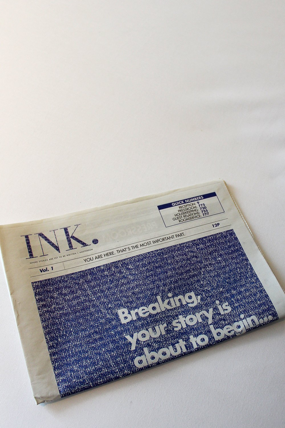 The newspaper at the Ink Hotel Amsterdam has all the latest news