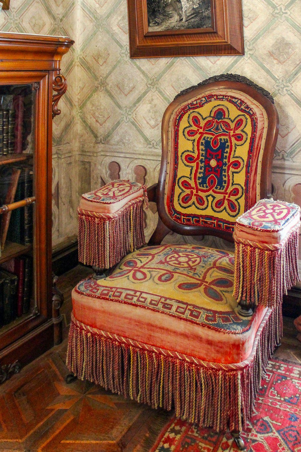 Vintage chair with tassles at Palacio da Pena Sintra Portugal