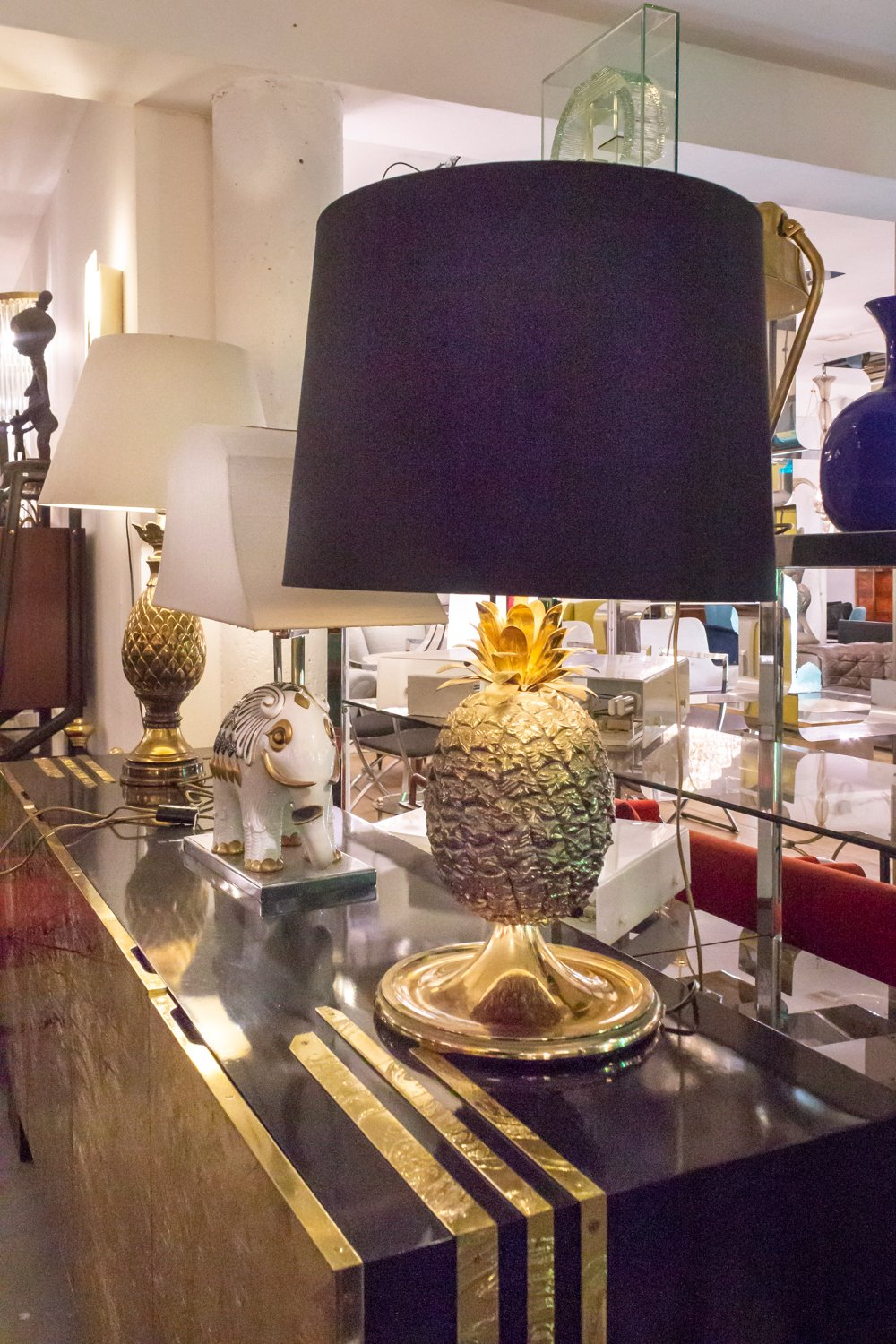 Brass Pineapple Lamp at Via Antica Brussels