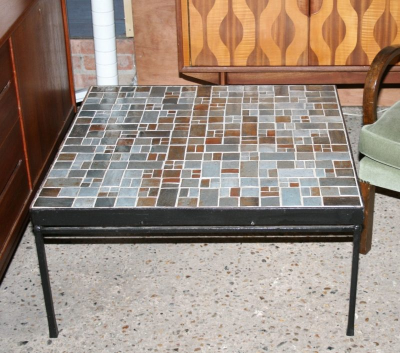 french mid century mosaic tile top coffee table