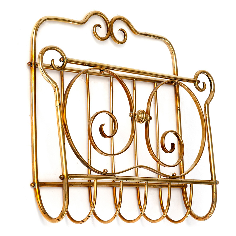 antique brass wall mounted magazine rack