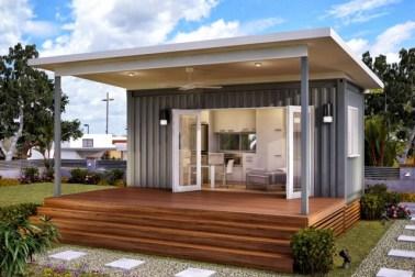Desain rumah kontainer gaya minimalis, desain fasad rumah kontainer