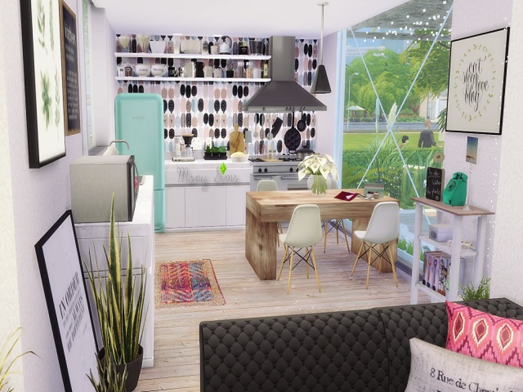 Interior dapur dan ruang makan rumah kontainer modern minimalis
