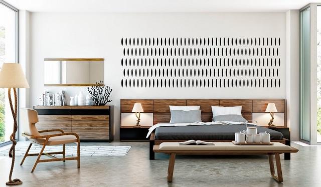 desain interior kamar tidur mid century