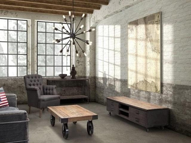 ruang keluarga industrial