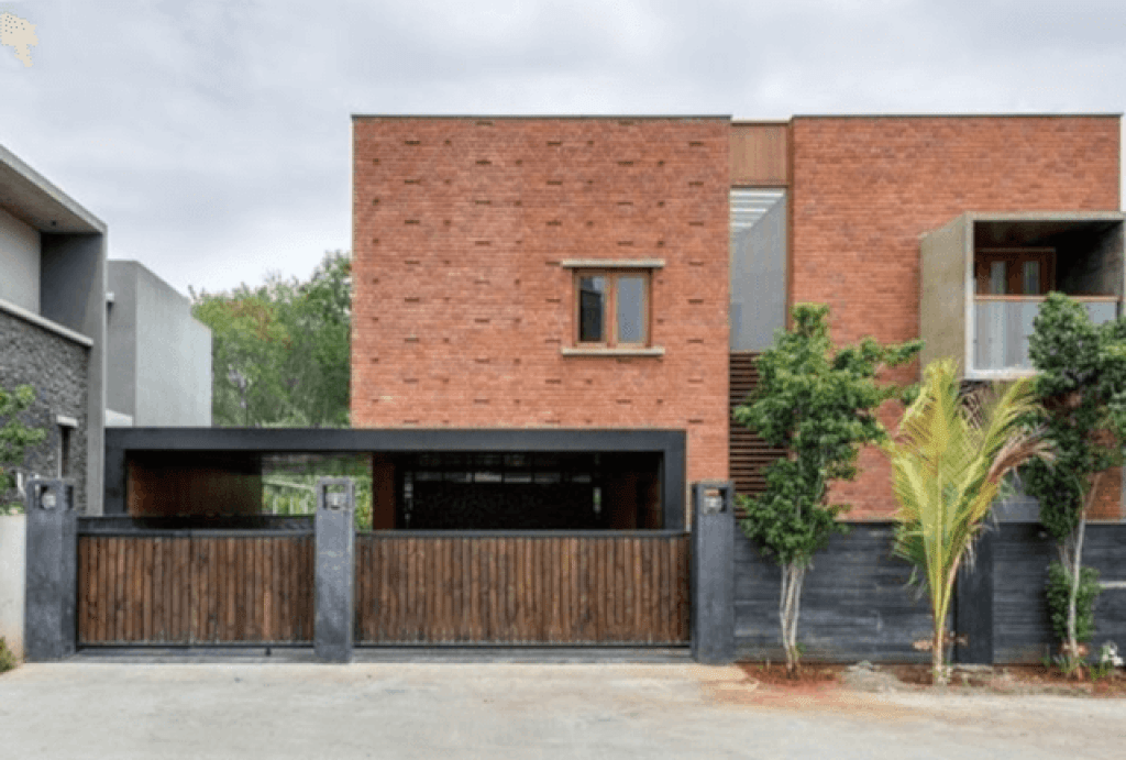 fasad rumah modern dengan bata ekspos