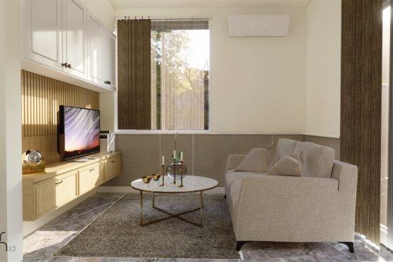 desain ruang keluarga gaya klasik modern