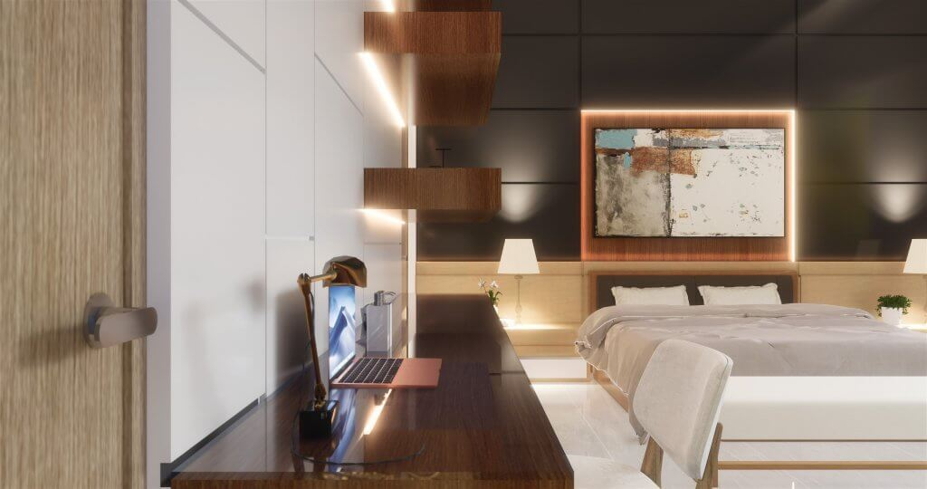 Kamar tidur utama desain modern minimalis dengan dibalut furnitur berwarna coklat