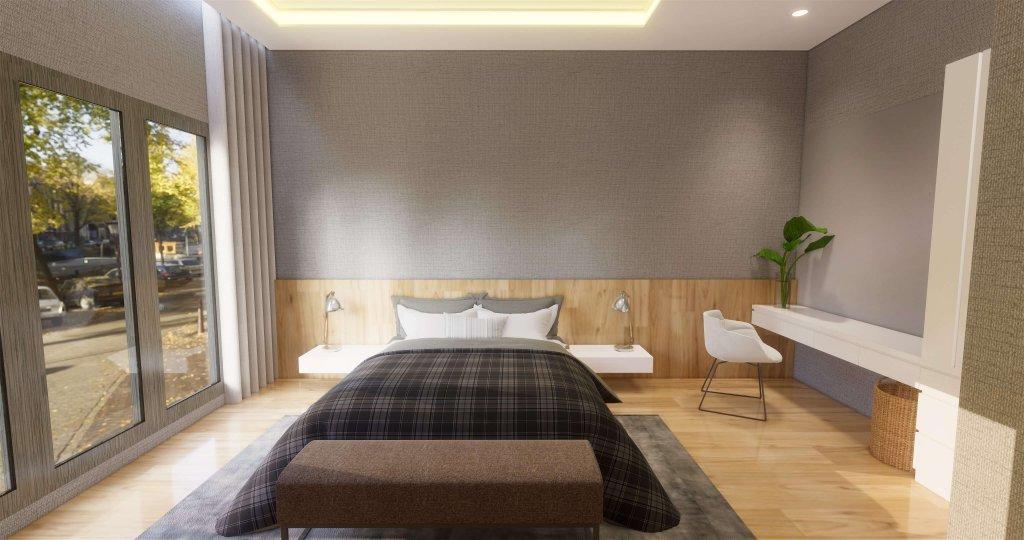 Kamar tidur utama dengan desain modern menggunakan furnitur minimalis dan kaca besar sebagai pencahayaan
