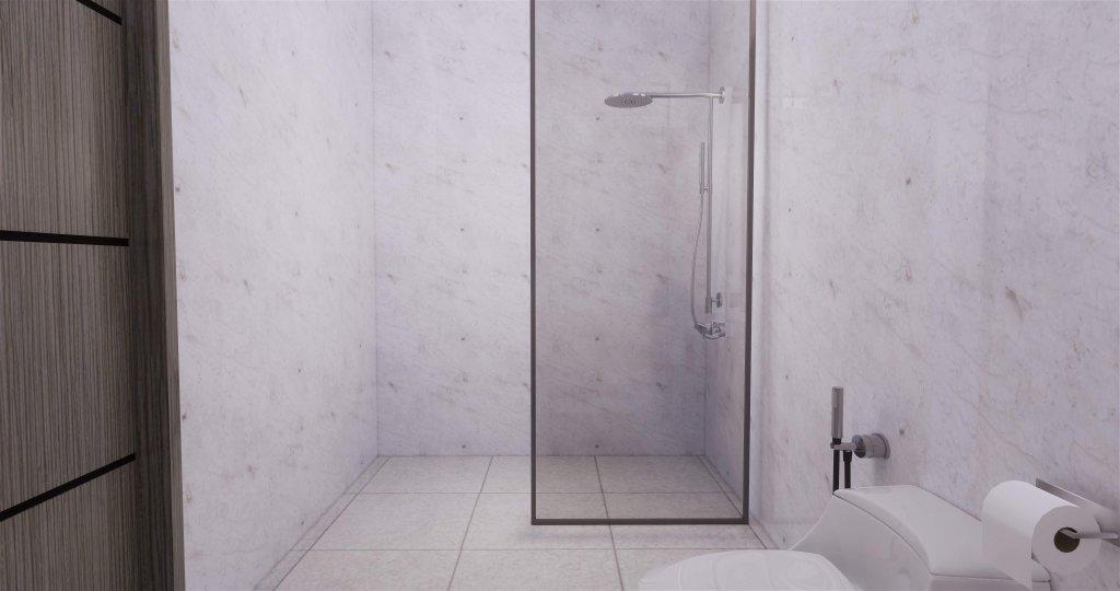 kamar mandi gaya modern minimalis dengan partisi kaca