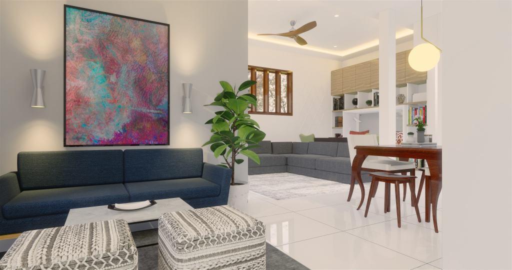 Desain ruang tamu gaya modern natural