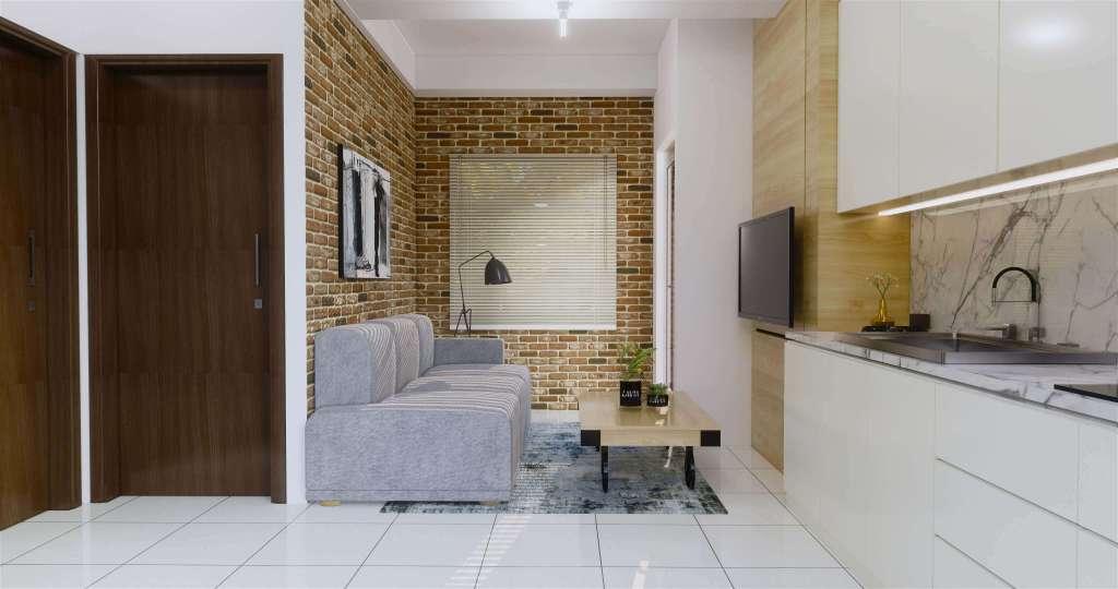 Desain interior apartmen gaya industrial minimalis