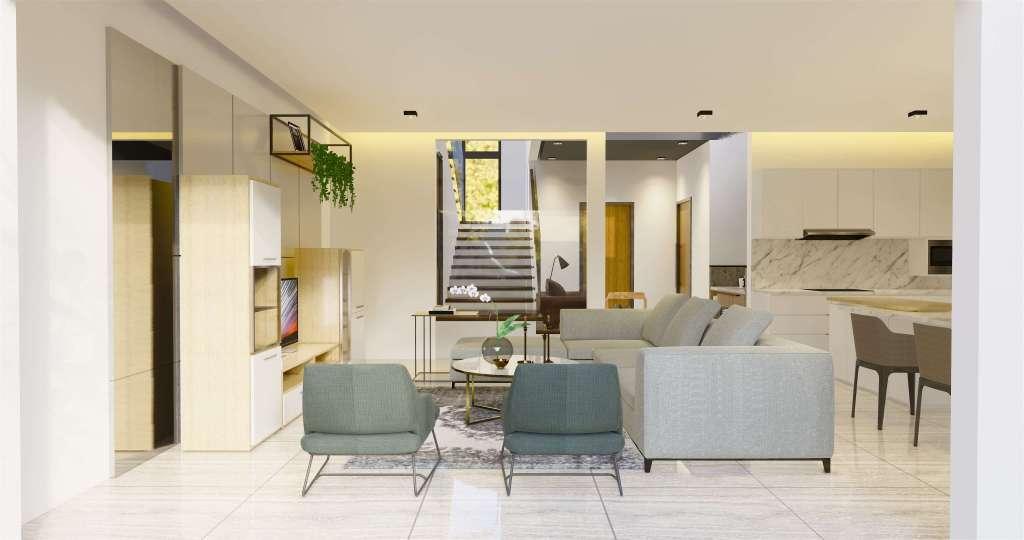 Ruang keluarga dengan konsep modern natural