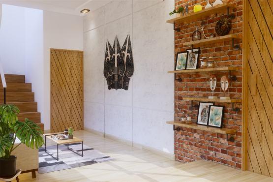 Interior Ruang keluarga gaya modern industrial
